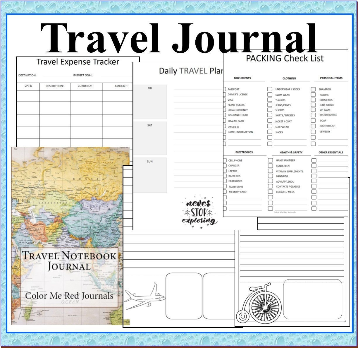 Travel Journal Binder: Travel Planning Pages, Expense Tracker, Budget  Planning, Travel Checklists, Vacation Planner, Journaling, Coloring