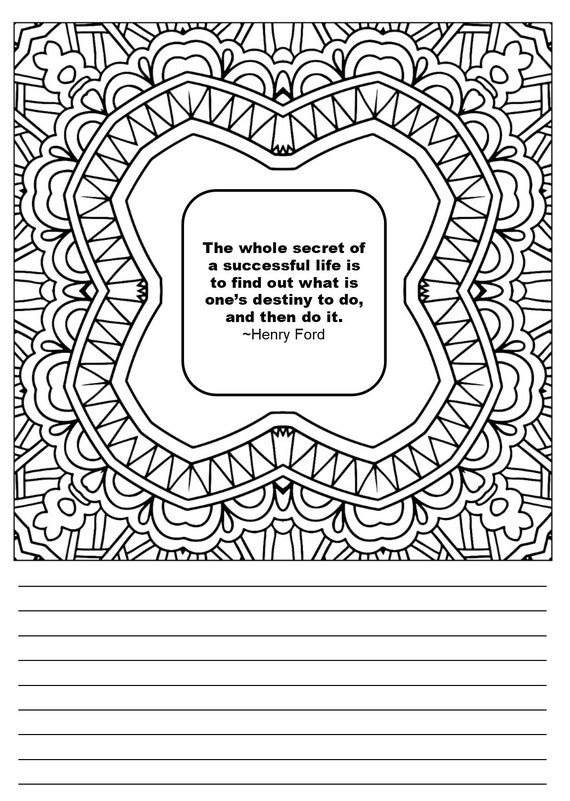 Motivating Quotes Mandala Squares Zentangle Coloring Book Journal-48  Coloring Pages Each with a Inspiring Quote