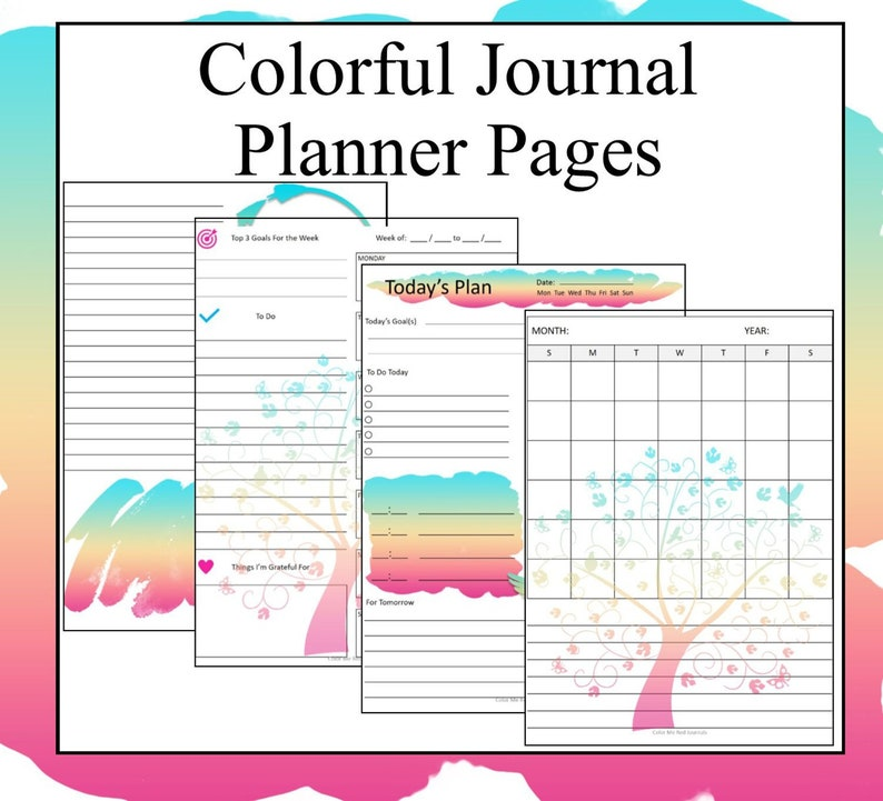 photo about Journal Pages Printable identified as Vibrant Designing Webpages- Printable Magazine Web pages - On a yearly basis, Month to month, Each day Function Atmosphere Developing Sheets within just Dazzling Pastel Colours