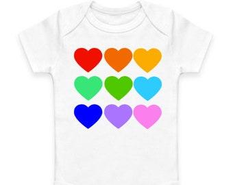 Rainbow Hearts Baby Bodysuit