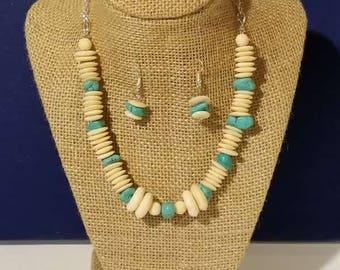 Turquoise and White Bone Set