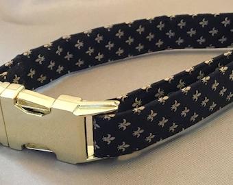 Bayou Angel Fleur de Lis Gold on Black Dog Collar, handmade, cotton, soft fabric, metal hardware, Saints, NOLA dog collar, Who Dat