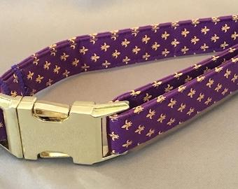 Bayou Angel Fleur de Lis Yellow on Purple Dog Collar, handmade cotton soft fabric, brass plate hardware, LSU, Mardi Gras