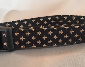 Bayou Angel Fleur de lis Gold on Black Dog Collar, Saints football colors, handmade, cotton, soft fabric dog collar, girl or boy dog collar