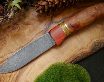 Forest Fire Scandi Style Pattern / Damascus Steel Blade Handmade OOK