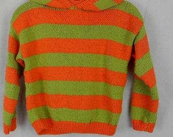 KAPUZEN HOODIE * KINDERPULLI * stripes * cotton * size. 128/134*Handarbeit