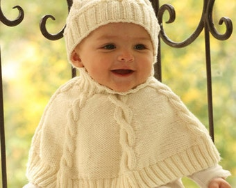 Baby Poncho Knitted Poncho Cape + cap Merino in color of your choice