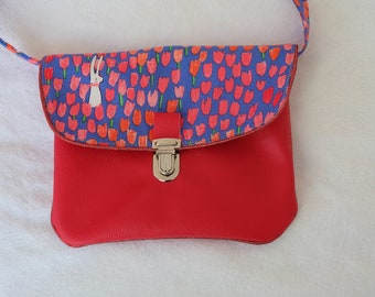 Bag faux leather and cotton fabric has pattern