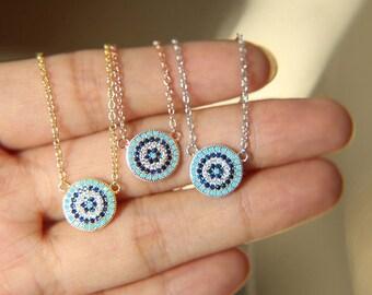 Genuine 925 Sterling Silver Evil Eye Cubic Zircon Greek Crystal Necklace