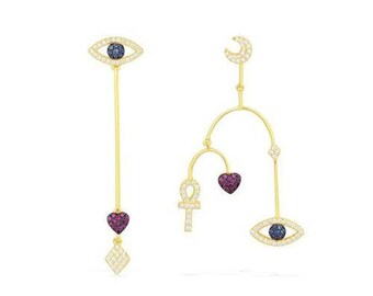 Genuine Gold Plated Colourful Evil Eye Cubic Zircon Greek Stud Earrings