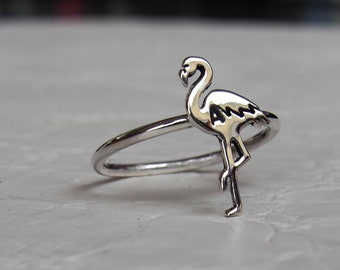 Flamingo.Sterling silver ring.Flamingo jewelry.Bird ring.Pineapple.Pineapple jewelry.Exotic animal.Tropical.Tropical fruit.Flamingo gift