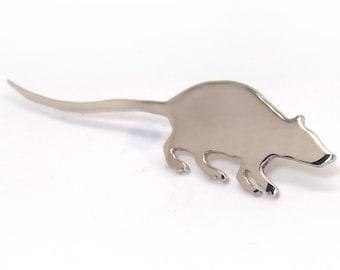 Rat brooch.Lapel pin.Silver brooch.Hat pin.Zodiac jewelry.Animal brooch.Mouse jewelry.Rat jewelry.Rat.Mouse brooch.Rat pin.Men jewelry