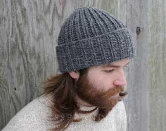 ebb4c99559213c Man beanie, watch cap , mens beanie , cuffed beanie, wool beanie, knit  beanie // The Ribbed Beanie | Charcoal