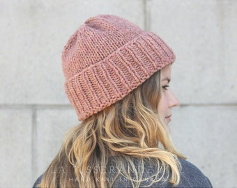 0c1457b593fcd0 Knit hats women   Dusty pink knit hat   knit hat   Pink beanie   100 %  Canadian wool // The Classic Cuffed Beanie in Old Pink