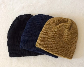 Unisex double brim knit hat - Hand knit with 100% Peruvian wool