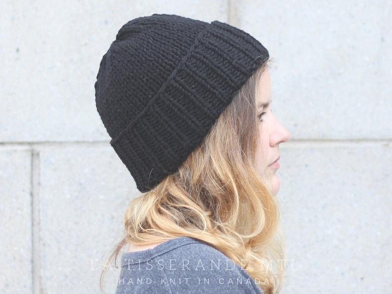 Classic black knit hat Knit hats women Black beanie  The Classic Cuffed Beanie in Black