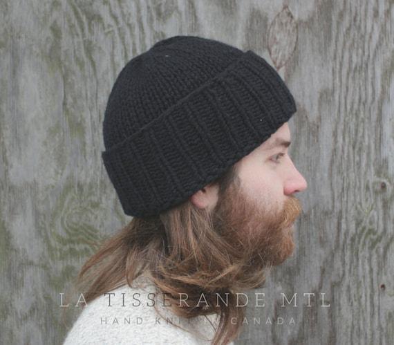 Man beanie man knit hat winter hat black beanie men man black knit hat  ab3eff4f026