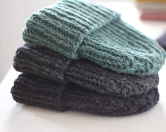 The Ribbed Beanie, 100% wool, Hand knit in Canada