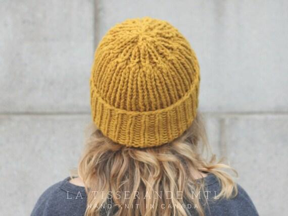 plus récent fc444 e87be Bonnet moutarde | 100% laine Canadienne | Bonnet laine // Fait au Québec //  La tuque à côtes | Moutarde