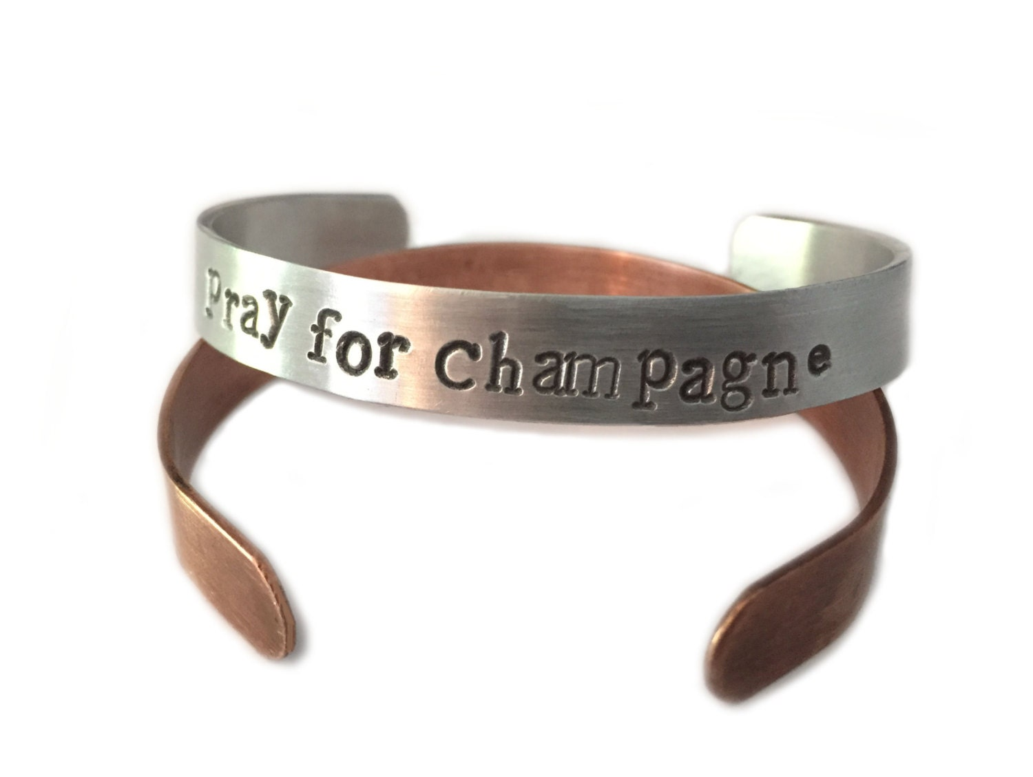 PRAY FOR CHAMPAGNE, champagne, bracelet, cuff bracelet, stamped bracelet, copper jewelry, copper bracelet, wrap bracelet, bangle bracelet