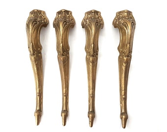 Antique set of 4 brass ornate table legs | Hardware furniture #121A63BX10