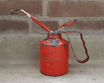 Antique oil can | KABI | 30s / 40s | Retro red | Patented | Superior quality | 0.5L #A7A6Q7C4