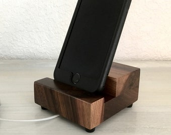 Universal phone stand, wood phone stand, cell phone dock, smartphone stand, charging stand, docking station, charging station, desktop stand