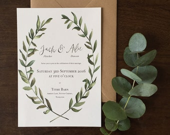 Olive leaf rustic Wedding Invitations