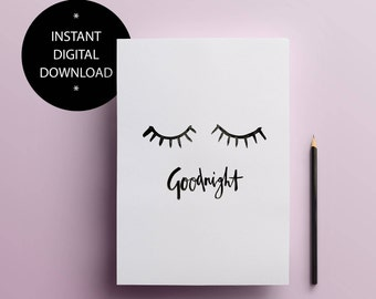 Goodnight - closed eyes print | Instant Download