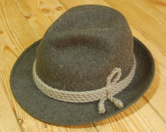 Vintage German/Austrian Brown Felt Traditional Trachtenhut Fedora Trilby Hat EU 58 UK 7 1/8  US 7 1/4