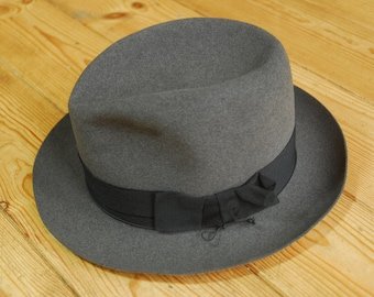 Vintage Italian Grey Fur Felt Fedora Trilby Hat by Borsalino Eu 55 UK 6 3/4 US 6 7/8