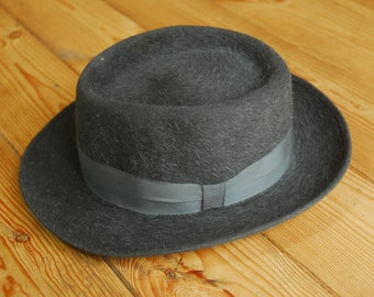 Vintage German/Austrian Grey Fur Felt Fedora Trilby Hat Eu 56 UK 6 7/8 US 7