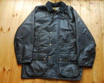 Vintage 80's Dark Blue Waterproof Mascot Dart British Country Jacket Coat Large