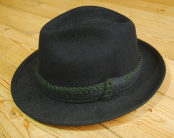 Vintage German Mayser Blue Felt Traditional Trachtenhut Fedora Trilby Hat EU 57 UK 7  US 7 1/8