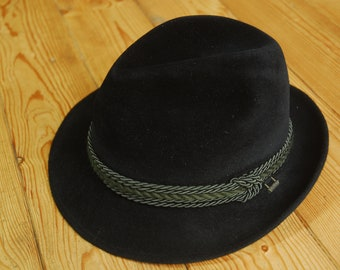 Vintage German/Austrian Traditional Trachtenhut Fedora Trilby Hat Black Velour EU 58 UK 7 1/8 US 7 1/4