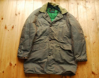 afa8dd89839 Vintage Genuine Down Insulated Hunting Field Jacket Coat by Falcon Brand SE  Woods 38 40 Short