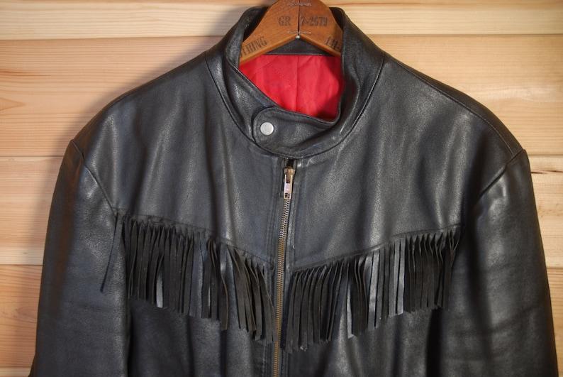 Vintage British Customised Black Leather Fringed Cafe Racer Motorcycle Biker Jacket YKK /& Newey 4244