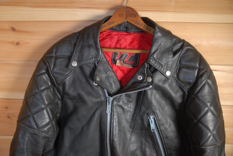 42b9f07fac162b Cuirs vintage TT fabriqués en Angleterre en cuir noir Biker Biker noir veste  moto 42