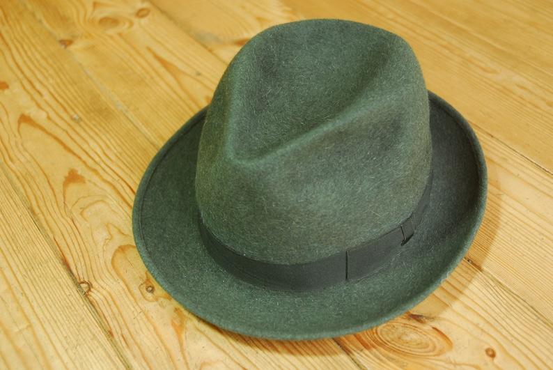 994953ad0 Vintage 60's Green Italian Barbisio Fur Felt Trilby Fedora Hat Eu 56 UK 6  7/8 US 7