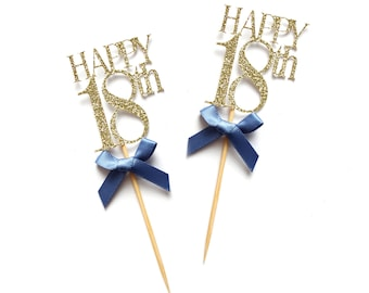 x8 Happy 18th Birthday Cupcake Toppers ~ Gold Glitter 18th Cake Toppers ~ Pink & Gold 18th ~ Happy 18th Toppers ~ Birthday Party Decorations