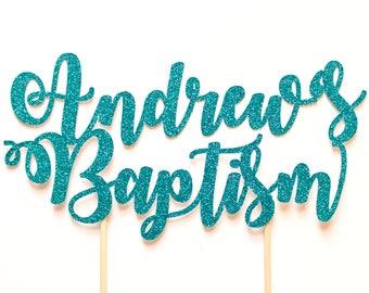 Personalised Baptism Cake Topper ~ Gender Neutral Custom Name Baptism Cake Topper ~ Baptism Cake Topper ~ # Pink & Gold Glitter Cake ~