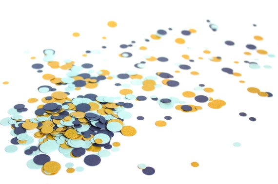 eco friendly metallic confetti blue gold gender reveal etsy