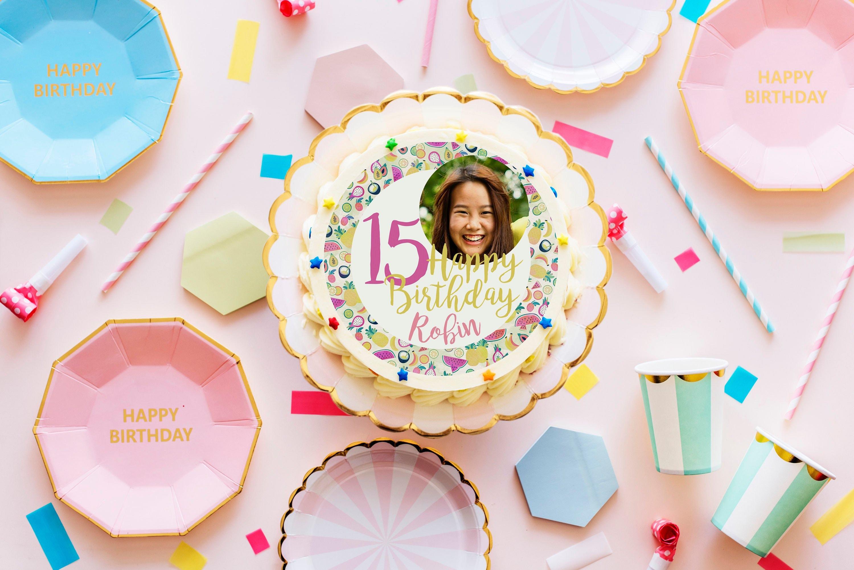 Super Fruit Edible Birthday Cake Topper Personalised Printed Photo Etsy Personalised Birthday Cards Fashionlily Jamesorg