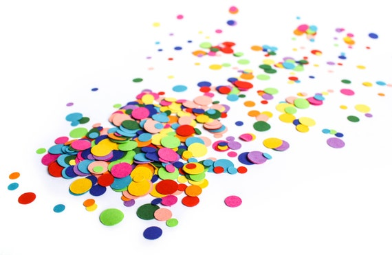eco friendly rainbow confetti dots bright multi coloured etsy