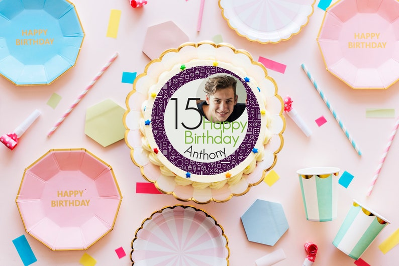 Edible Personalised Happy Birthday round printed cake topper decoration