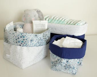 Quilted layers oeko-tex - reversible fabric baskets - storage baskets range layers