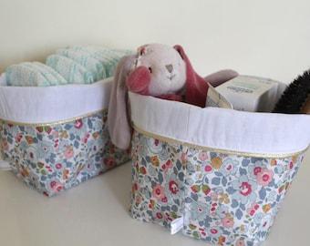 Fabric reversible and sweatshirts - Liberty mauvey - storage baskets - storage baskets layers - fabric baskets
