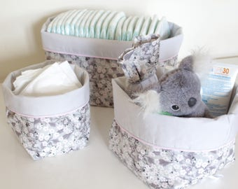 Fabric - reversible storage basket quilted - discount - fabric basket - storage business baby - changing table