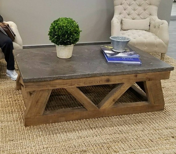 Concrete Top Coffee Table Rustic Concrete Coffee Table Etsy