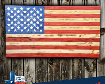 Rustic American Flag, Stained Wooden American Flag, Wooden American Flag, Wood Burned Flag